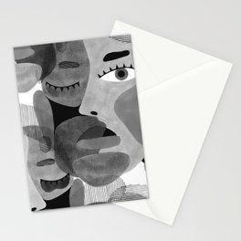 Abstract woman face with eyes in B&W illustration Stationery Cards