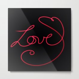 Love in Cursive with a Heart Metal Print