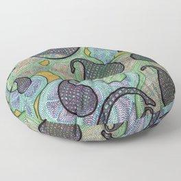 Blue Lattice Paislies Over Leaves Floor Pillow