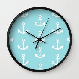 Anchor - mint blue Wall Clock