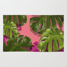 """""""Monstera plant on polka dots and pastel pink"""" Rug"""