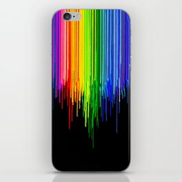 Rainbow Paint Drops on Black iPhone Skin