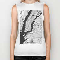 new york map Biker Tanks featuring New York Map Gray by City Art Posters