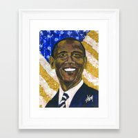 obama Framed Art Prints featuring Obama by Stan Kwong