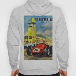 1957 Grand Prix Motor Racing Nurburgring Germany Vintage Advertising Poster Hoody