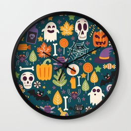 Retro Halloween Trick-Or-Treat Collage Wall Clock