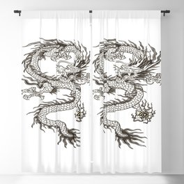 Chinese dragon Illustration Blackout Curtain