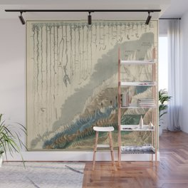 1854 Comparative Lengths of Rivers and Heights of Mountains Wall Mural