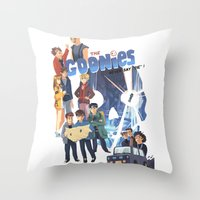 "goonies Throw Pillows featuring The Goonies never say ""die"" ! by Collectif PinUp!"