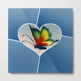 Butterfly Love - Blue Metal Print