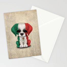 Cute Puppy Dog with flag of Mexico Stationery Cards