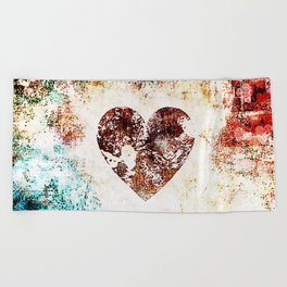 Vintage Heart Abstract Design Beach Towel