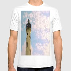 Cloudy at the Lighthouse White Mens Fitted Tee MEDIUM