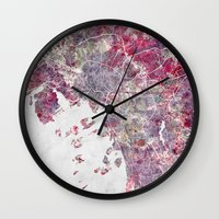 oslo Wall Clocks featuring Oslo Map by MapMapMaps.Watercolors