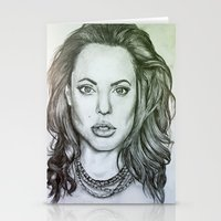 angelina jolie Stationery Cards featuring Angelina Jolie by Kat Lyon