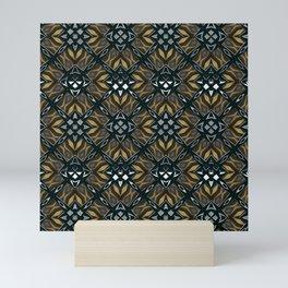 black design shapes ornate on a yellow background Mini Art Print