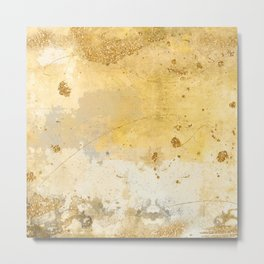 Gold and Yellow Brush Stroke Abstract Metal Print