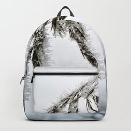 frozen grass in blck and white Backpack