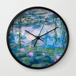 Water Lilies Monet Teal Wall Clock