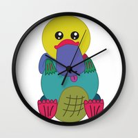 platypus Wall Clocks featuring Rainbow Platypus by Joy Deits