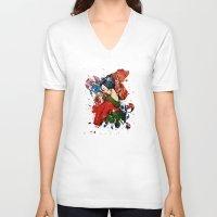 geisha V-neck T-shirts featuring Geisha by Spooky Dooky