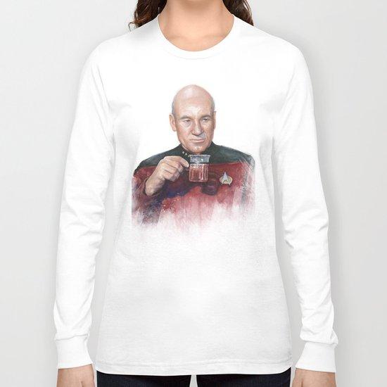 Captain Picard Earl Grey Tea | Star Trek Painting Long Sleeve T-shirt