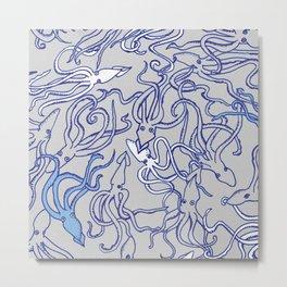 Squids of the inky ocean Metal Print