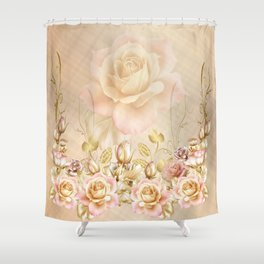 Blush Roses and Golden Leaves Shower Curtain
