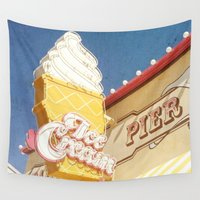 ice cream Wall Tapestries featuring Ice Cream by Sam Skyler