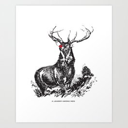 red nose stag Art Print