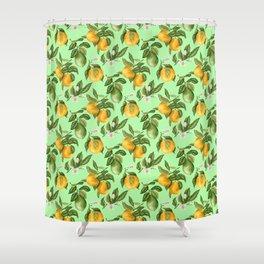 Citrus fruit tree blossom Shower Curtain