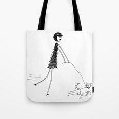 Walking the cat Tote Bag