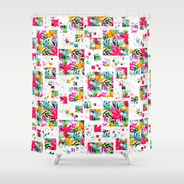 Geometric Pink Teal Orange Abstract Floral Shower Curtain