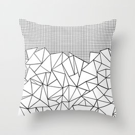 Abstract Outline Grid Black on White Throw Pillow