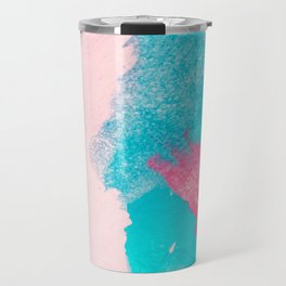 Blush pink blue teal watercolor hand painted brushstrokes Travel Mug