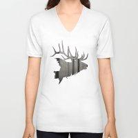 elk V-neck T-shirts featuring Elk by Jeffrey Derrick