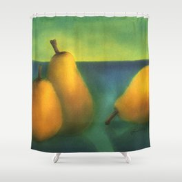 watercolor pears Shower Curtain