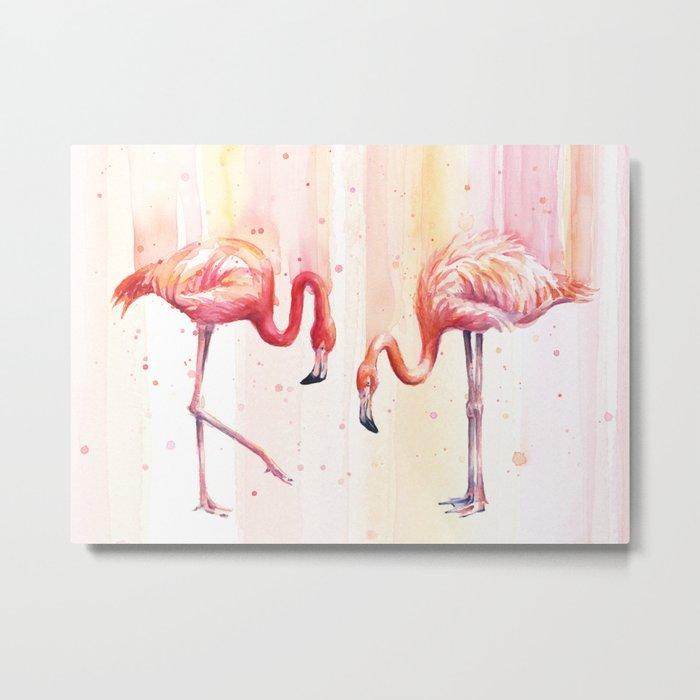Two Flamingos Watercolor Tropical Birds Animals Metal Print