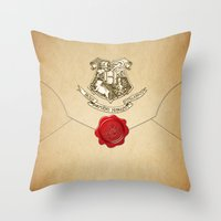 lannister Throw Pillows featuring HARRY POTTER ENVELOPE by Sophie