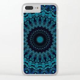 Mandala in light and dark blue tones Clear iPhone Case