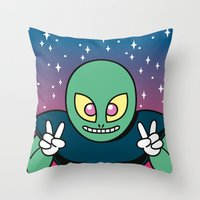invader zim Throw Pillows featuring Invader by Eliseo Diaz