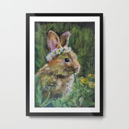 Sweet Bunny and  Yellow Daisies. Baby Design Metal Print