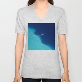 Blue Lagoon Abstract Unisex V-Neck