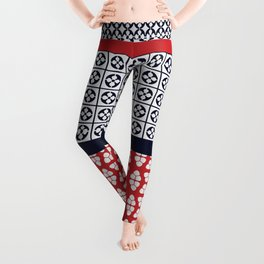 Japanese Style Ethnic Quilt Blue and Red Leggings