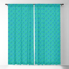 Teal Parasols Pattern Blackout Curtain