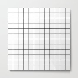 Grid Simple Line White Minimalist Metal Print