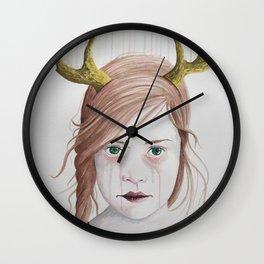 Girl With Antlers II Wall Clock