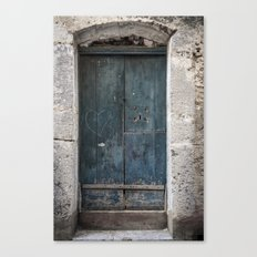 Green Door with Heart Canvas Print