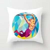 crossfit Throw Pillows featuring Crossfit Pull Up Bar Circle Low Polygon by patrimonio