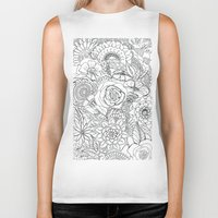 floral pattern Biker Tanks featuring Floral Pattern by Coffee and Pen